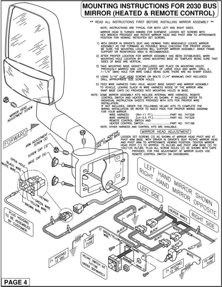 Velvac Mirror Wiring Diagram from www.pacificrvmirrors.com